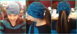 Multi Blue Ponytail Hat $15