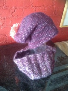 purple multi pink pom hat set
