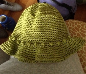 cotton olive popcorn sun hat $25