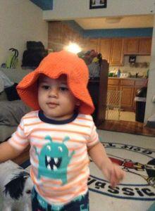 orange sun hat $15
