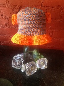 orange & blue monkey sun hat