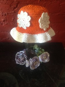 orange flower sun hat