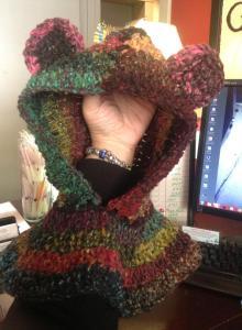 multi color bear hood $25