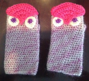 pink owl gloves furry $20